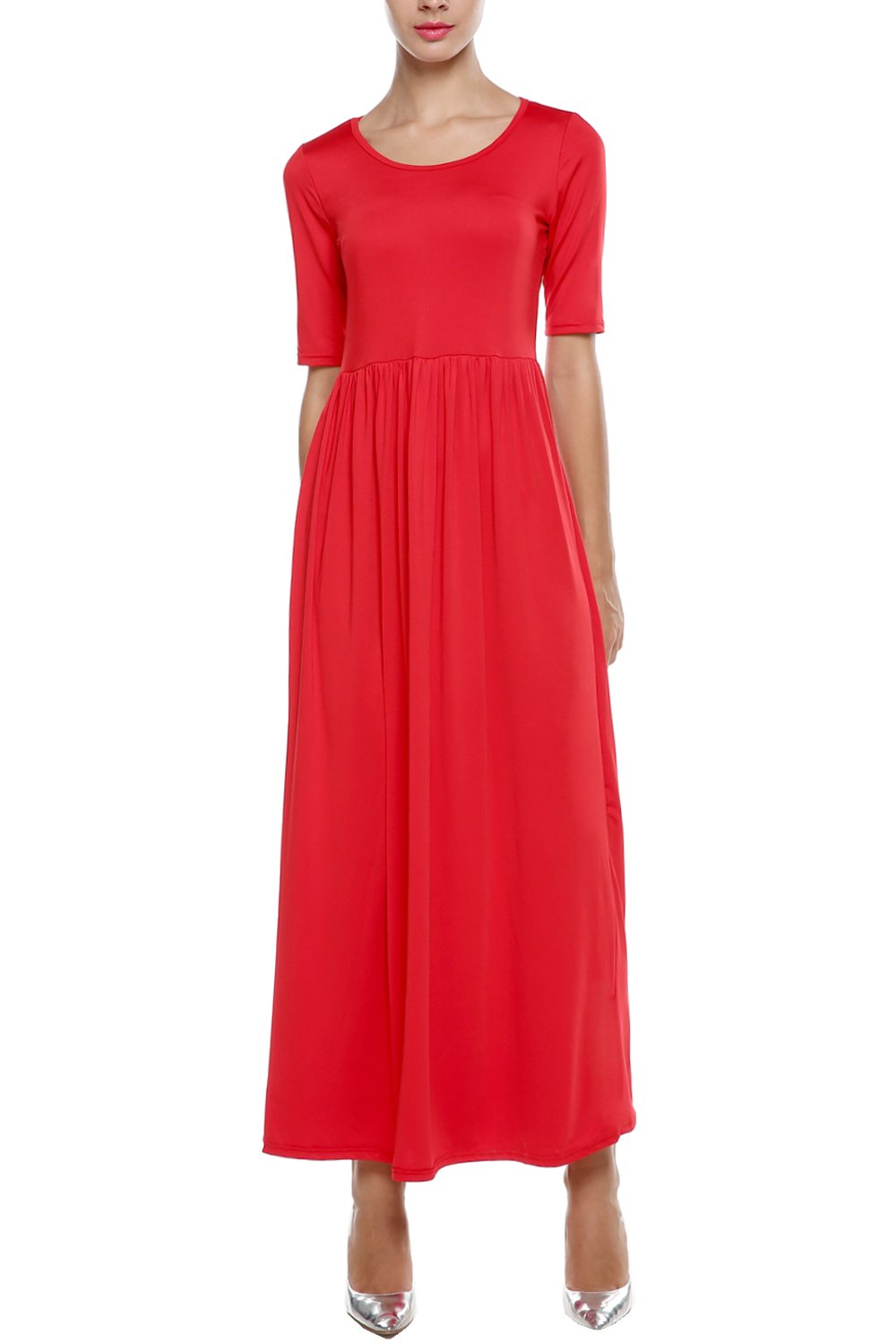 Meaneor Women Long and 3 4 Sleeve Solid Plus Size Maxi Long Evening Party Dress (S, Red 1)