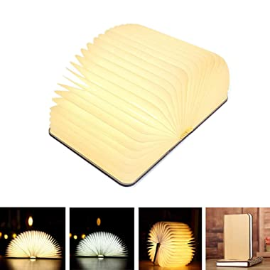Xtozon Folding Book Lamp, Wooden LED Portable Desk Light, 5.7x4.3x1Inch USB Rechargeable Table Lamp - 3 Colors Novelty Bedside Lamp