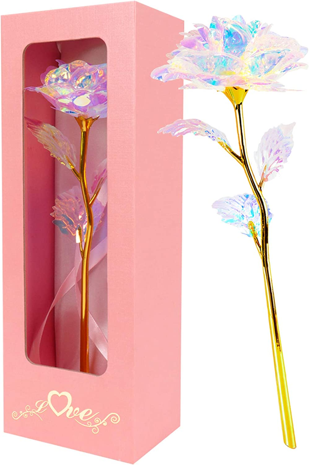 24K Gold Foil Rose Flower Faux Colorful Flower For Mother/'s Day Valentine/'s Day