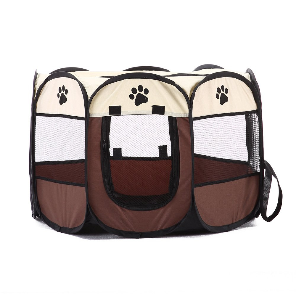 PlayDo Portable Exercise Kennel With Mesh Shade Cover Fence Tent For Dog/Cat/Puppy (S;28.3''X28.3''X29.5, Coffee)
