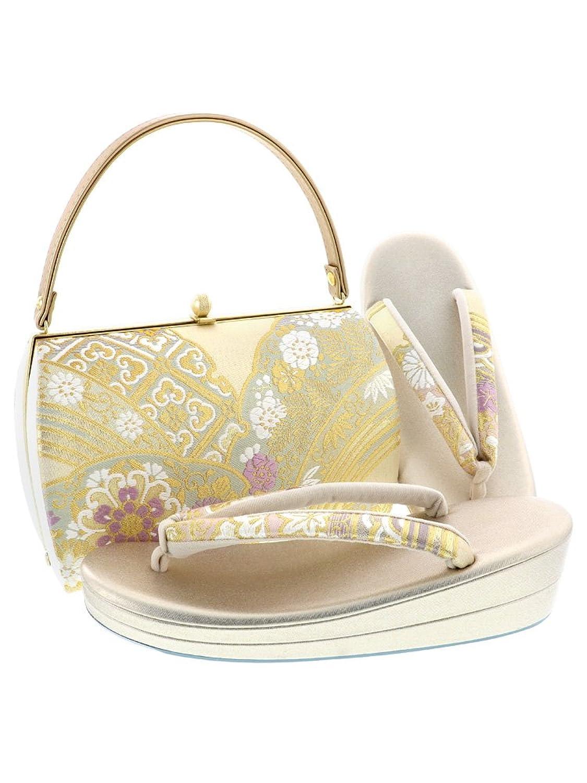[ 京都きもの町 ] 礼装 草履バッグセット「ゴールド×薄グリーン 雪輪重ね」LLサイズ B076GYK4JY