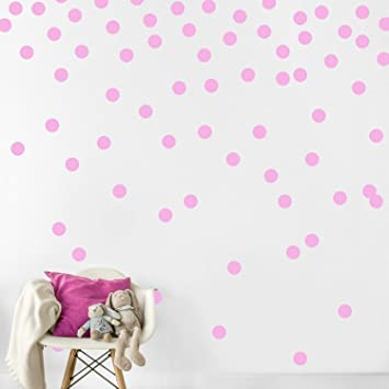 Pink Dots Wall Stickers (2.0 inch x 300 Decals),Safe on Walls &  Paint,Metallic Vinyl Polka Dot Decor,Round...