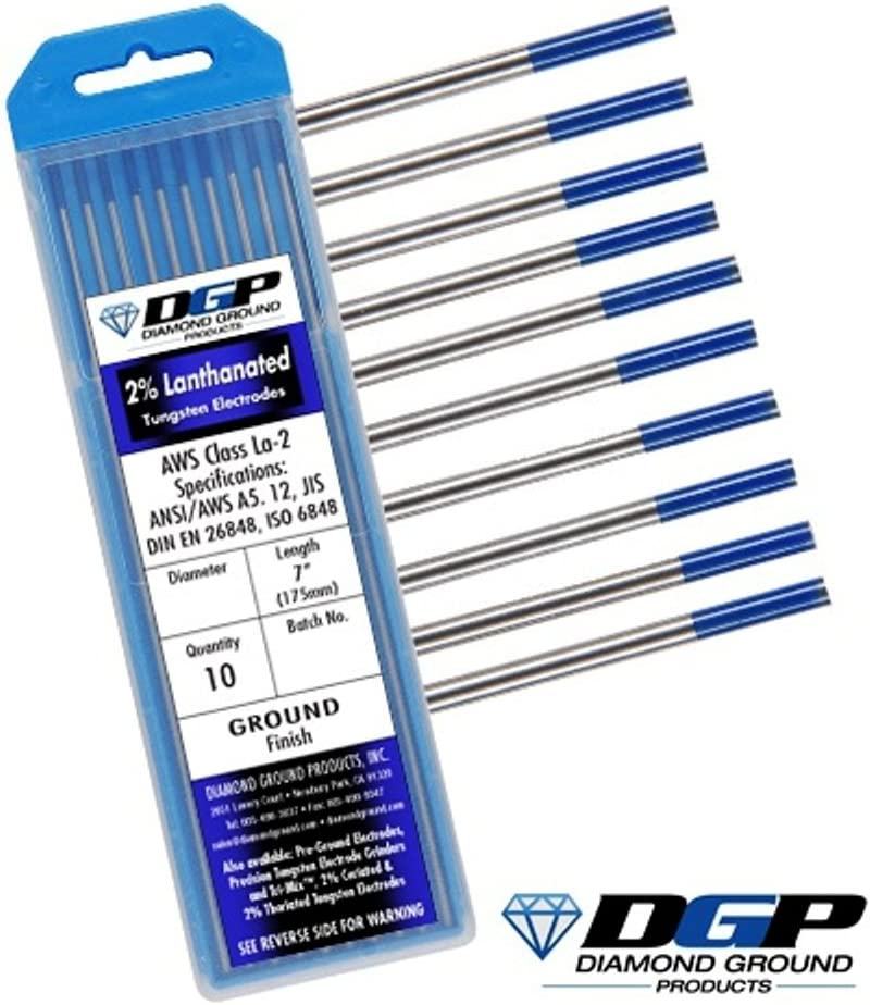 "Blue, WL20 10-Pack KINGQ TIG Welding Tungsten Electrodes 2/% Lanthanated 1//8/"" x 7/"""
