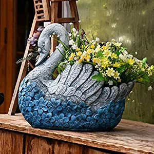 Blue Swan Shape Large Plant Pot Hand Cast Stone Embossed Flower Garden Ornament Heavy Flower Planter Basket Decor…