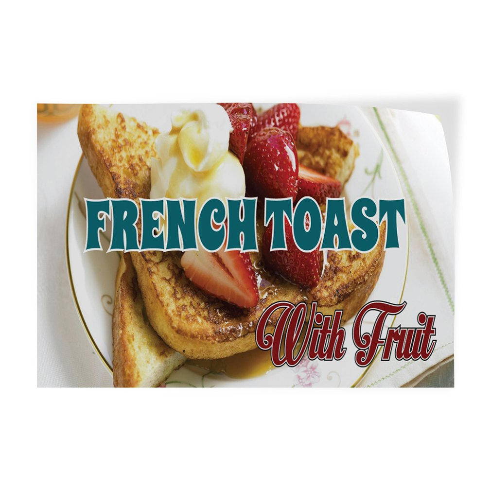 Decal Sticker French Toast with Fruit Restaurant & Food Bead Outdoor Store Sign White (Multiple Sizes Available) - 27inx18in, Set of 2