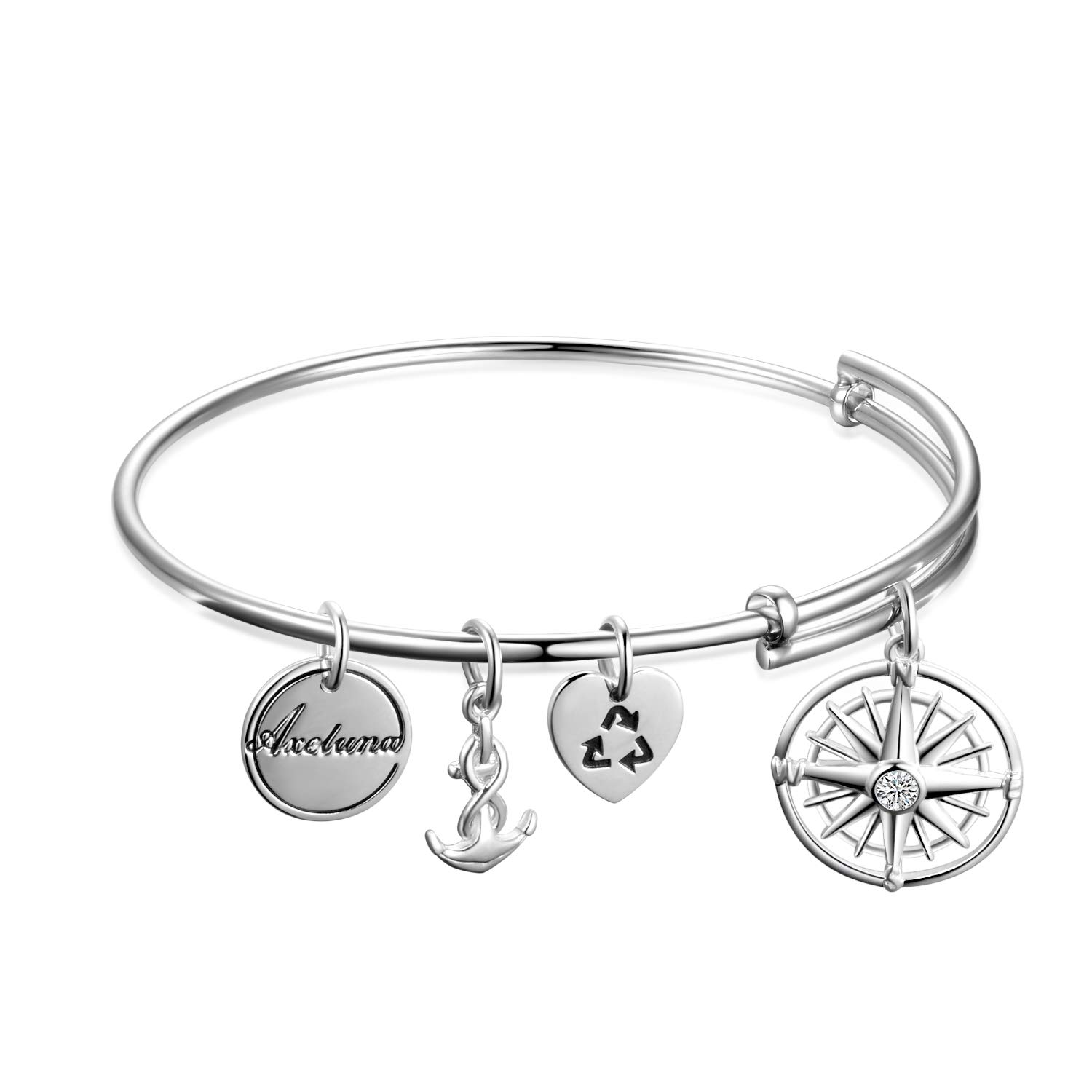 AXELUNA Sterling Silver Nautical Anchor and Compass Bracelets Expandable Bangles for Women