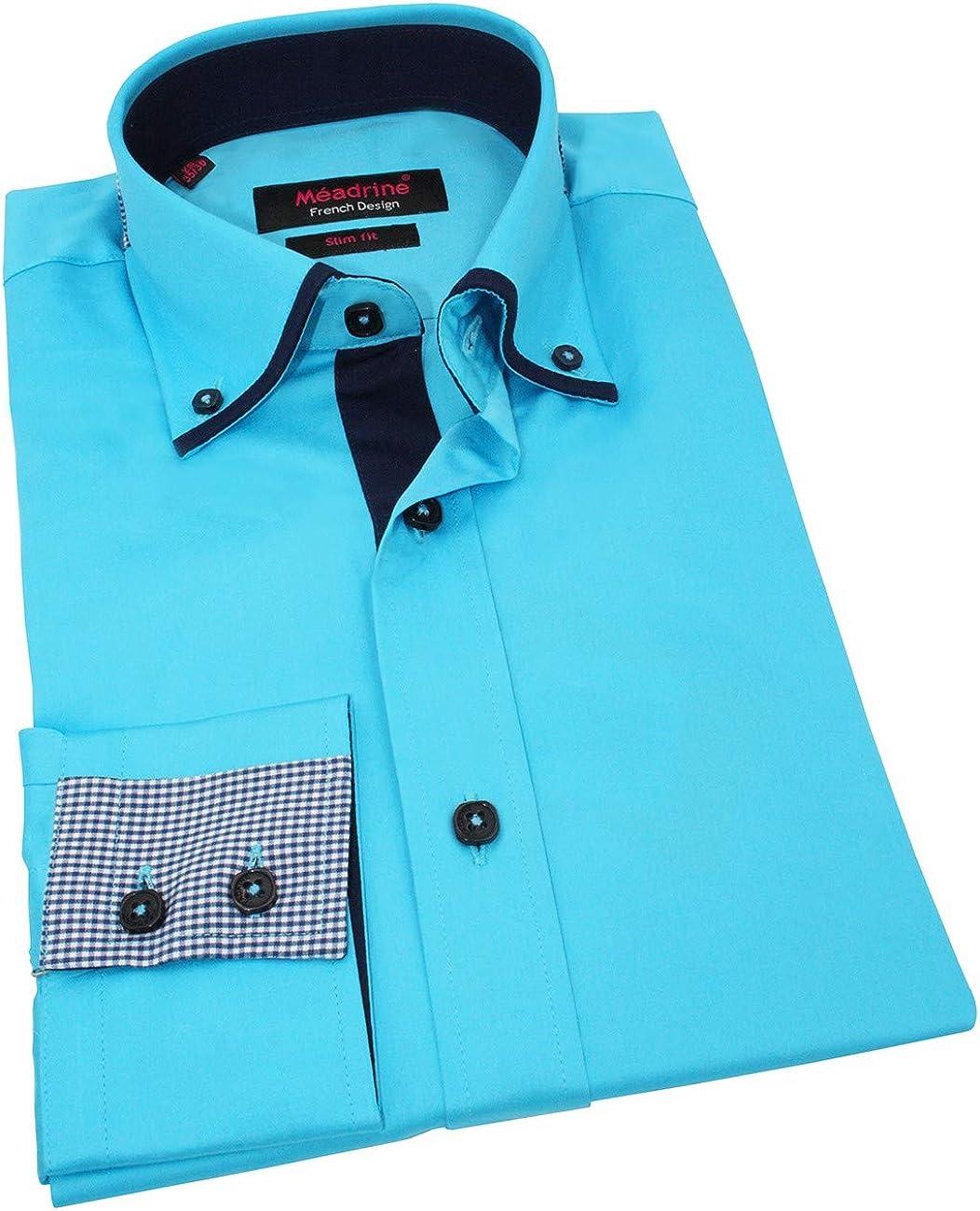 Meadrine Hombre Camisa Belz Equipado Turquesa Cuello y puños trabajados - XS, Turquoise: Amazon.es: Ropa y accesorios