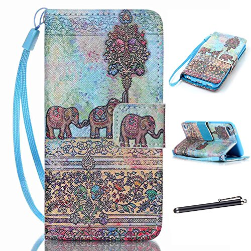 - iPod Touch 5th 6th Generation Case iPod Touch 5 6 Case PU Leather Magnetic Design Case Flip Folio Kickstand Cover Case with Totem Elephant Pattern for iPod Touch 5 6[Built-in Credit Card Slots]