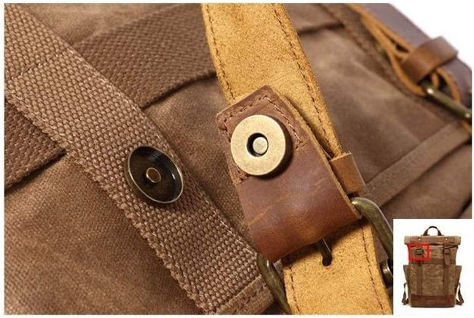 Color : Khaki, Size : 311248cm Lydianzishangwu Waterproof Waxed Canvas with Leather Trim Mens Backpack Large-Capacity Casual Fashion Backpack