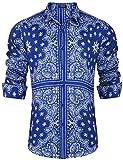 COOFANDY Men's Paisley Shirt Long Sleeve Loose Fit Casual Stylish Hip Hop Button Down Shirts, Blue, Medium