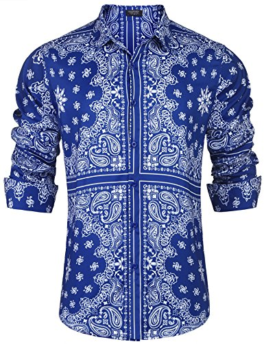 COOFANDY Men's Paisley Shirt Long Sleeve Loose Fit Casual Stylish Hip Hop Button Down Shirts