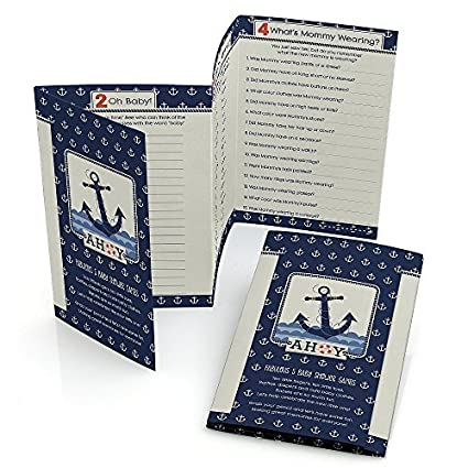 Big Dot Of Happiness Ahoy   Nautical   Baby Shower Games Pack   5 Games In