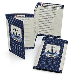 Ahoy   Nautical   Baby Shower Games   Fabulous 5   Set Of 12