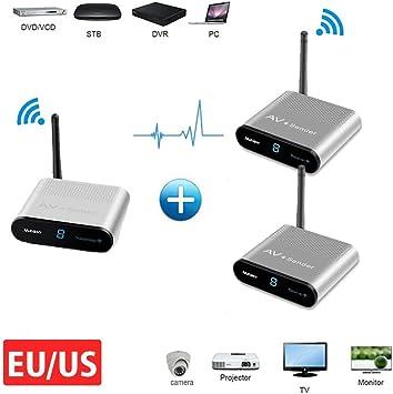 IR Sender Measy AV230-2 RCA Extensor 2.4GHz Wireless AV Sender Audio Video Transmisor Receptor Foxtel TV Transmisión 300M/1000FT(1TX a 2RX): Amazon.es: Electrónica