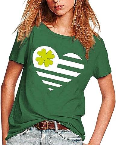 Ladies Love Four-Leaf Clover Print Sweatshirt St Patrick Days Shamrock Shirt for Women