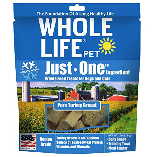 Whole Life Pet Single Ingredient USA Freeze Dried Turkey Breast Treats Value Pack for Dogs and Cats, (Pet Turkey)