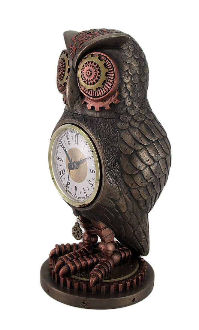 Veronese Resin Mantel Clocks Bronze/Copper Finish Steampunk Owl Mantel Clock 5 X 10.5 X 5 Inches Copper