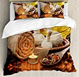 Spa Decor Queen Size Duvet Cover Set by Ambesonne, Outdoor Spa Massage Setting at Sunset with Candlelight Reflections Culture, Decorative 3 Piece Bedding Set with 2 Pillow Shams