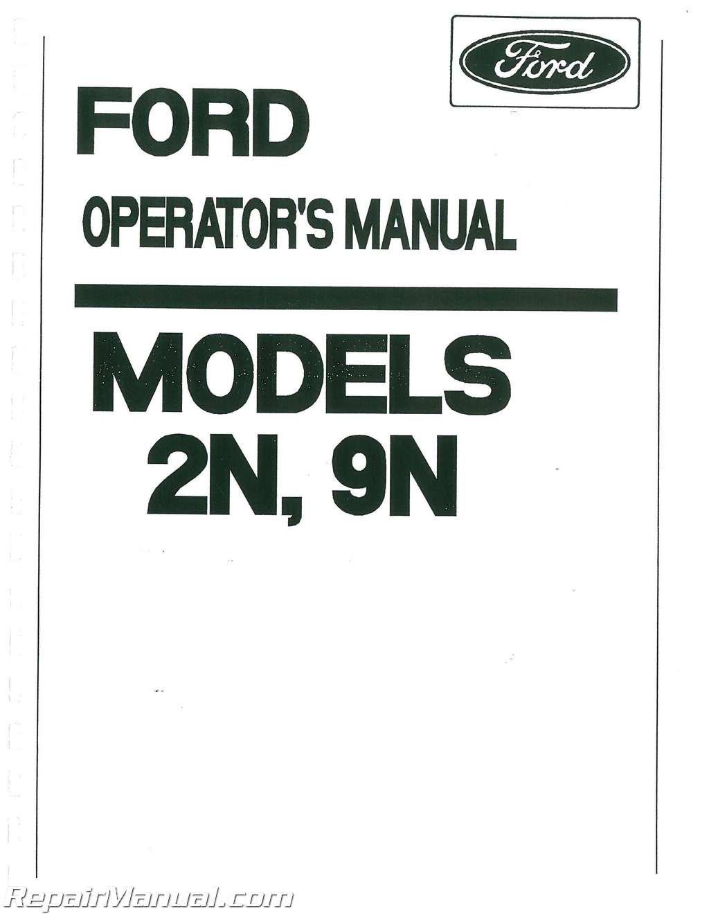 Ford 2N 9N Tractor Operators Manual