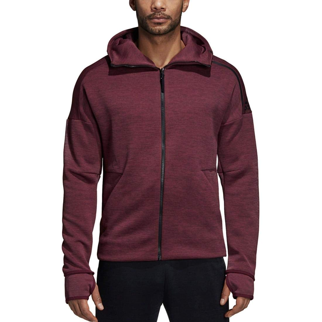 Heather Night Red L adidas Men's ZNE Full Zip Hoodie