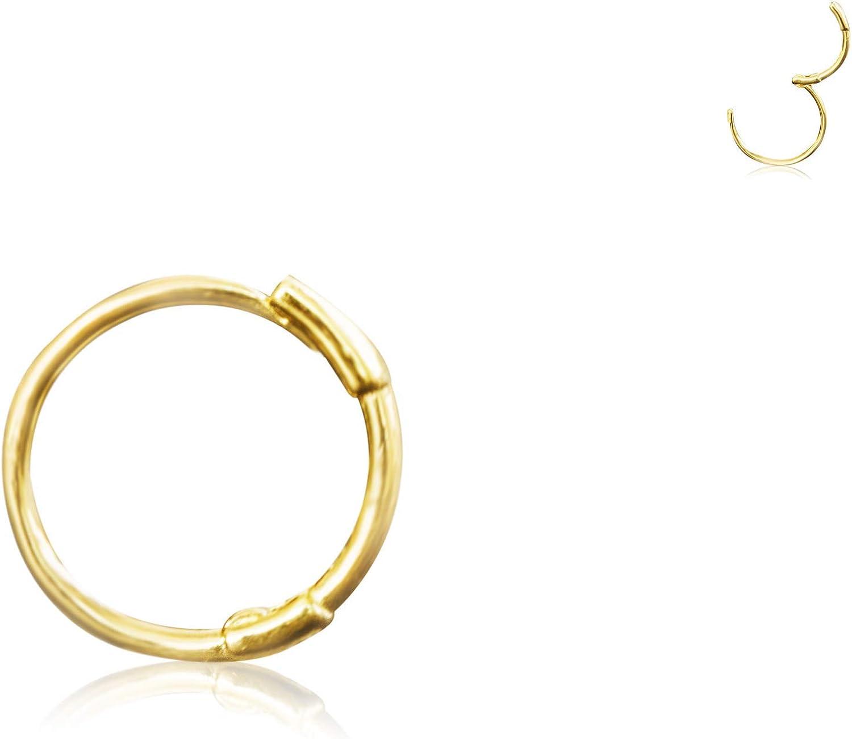 14K Solid Yellow Gold Jewelry Cz Open Round Circle Triangle Flower Snowflake Ear Segment Clicker Huggie Hoop Ring Piercing Earring For Women Girls Men