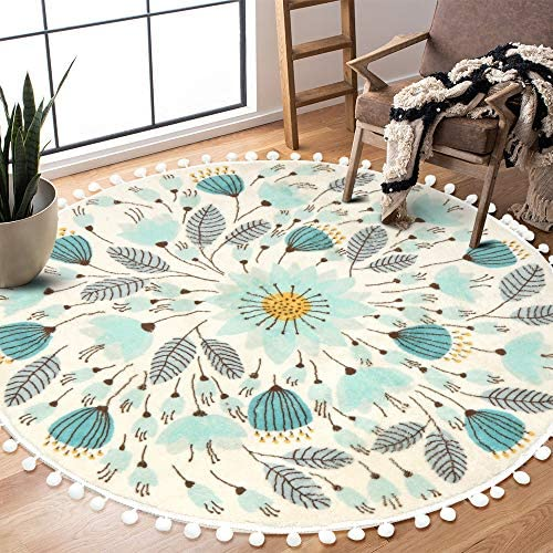 Uphome Round Area Rug 4 Diameter with Chic Pom Pom Ball Fringe Floral Velvet Throw Rugs Field Plants Non-Slip Soft Floor Carpet for Living Room Bedroom Nursery Decor