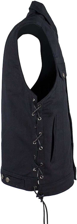 Mens Black Denim Motorcycle Vest Fold Down Collar Side Laces