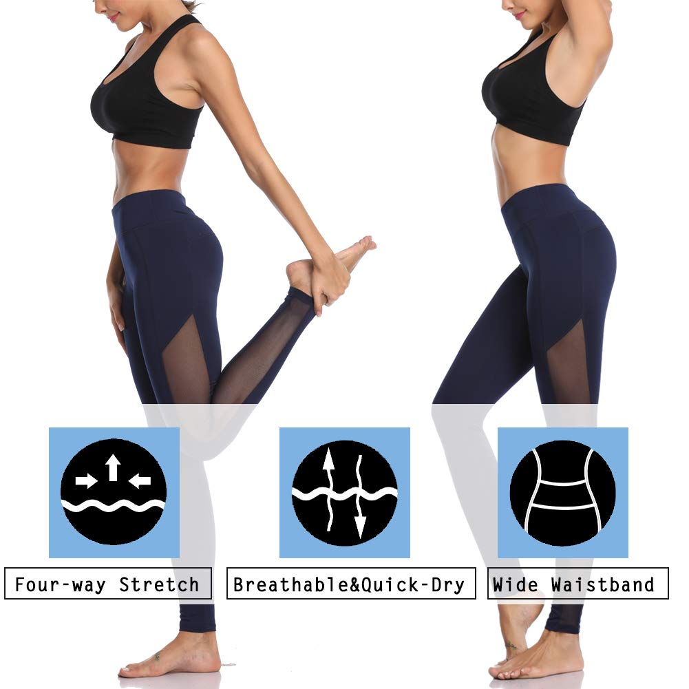 MissTalk Mesh Yoga Pants for Women Gym Workout Running Leggings with Hidden Pocket