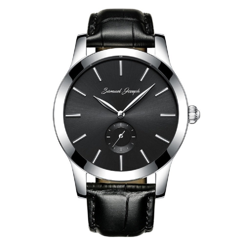 Samuel Joseph Bespoke Men's 43mm Wrist Watch with Galaxy Black Dial, Steel Case, and Black Leather Band