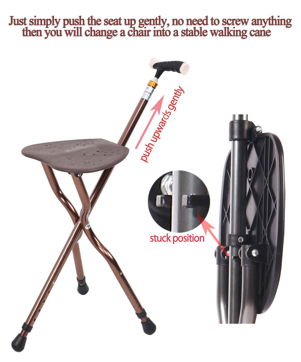 Best Health Cane Seat Stool Retractable Lightweight Walking Stick with LED Light for Elderly Outdoor Travel Rest Stool Folding Chair Replacement Large Golf Seat Large Weight Capacity (brown cane seat) by BSROZKI (Image #3)