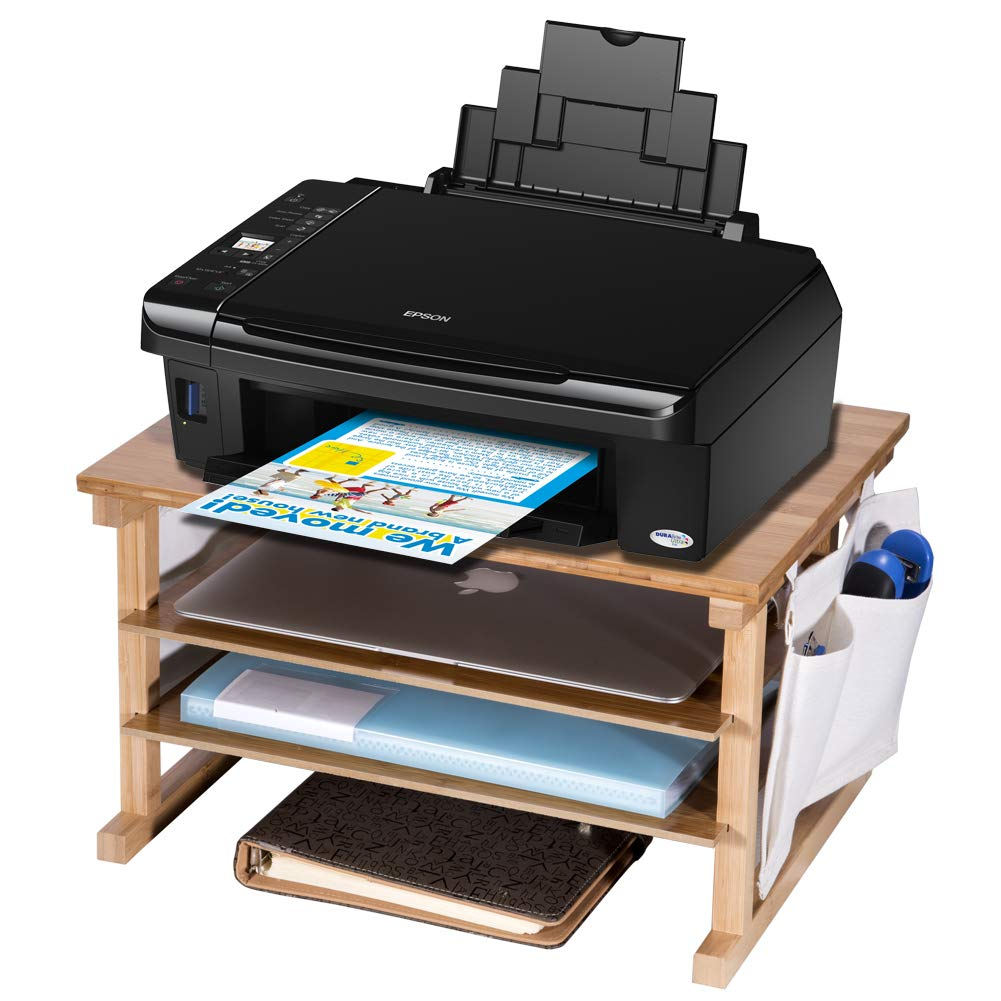 Bamboo Printer Stands, Paper Organizer for Home & Office, Multifunctional Desktop Organizer with Two-Tier shelves and Two Extra Storage Pockets by Furniture Life