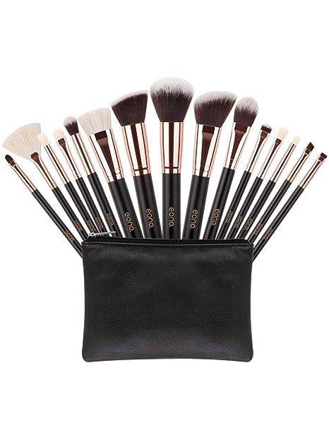 Eono Essentials Brochas de Maquillaje 15 Unids Pelos de Cabra Sintéticos Premium Base Pincel Mezcla Polvo Facial Rubor Corrector Cosméticos de Ojos ...