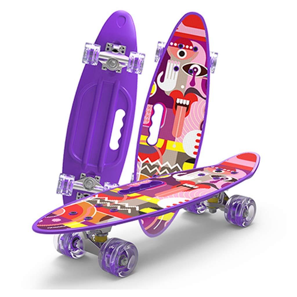 スケートボード 4ホイールボードチャイルドアダルトユニバーサル初心者男の子と女の子の用法ロードブラシストリートトラベル61パープルスケートボード (Color : 紫の, Size : 61*18*10cm) 紫の 61*18*10cm