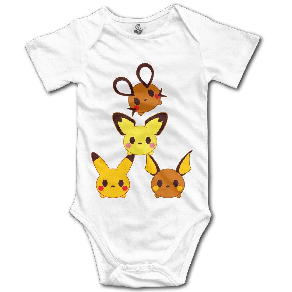 Lovely Baby For 6-24 Months Boys & Girls Pokemon Pikachu Family Short Sleeve White