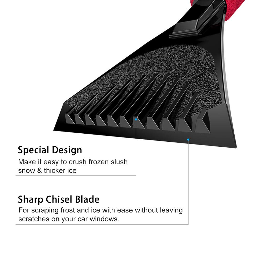 4 pcs Snow Ice Scraper for Car and Universal Car Seat Belt Pads Cover Snow Scraper Tool with Blade Indestructible Windscreen Snow Frost Scrape Tools (Black) (Red)