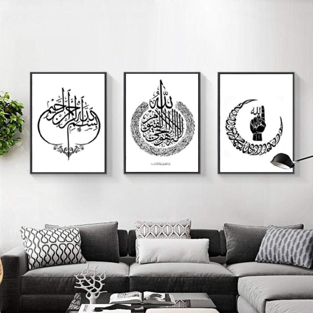HGNFD Pinturas de Lienzo de Arte árabe islámico Abstracto Cuadros en Blanco y Negro para decoración del hogar-50x70cmx3 Piezas sin Marco