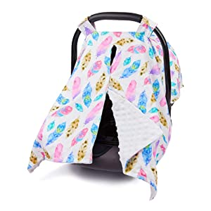MHJY Carseat Canopy Cover Nursing Cover Breathable Cotton Infant Car Seat Canopy Carseat Cover Nursing Scarf for Boy Girl Baby Shower Gift,Feather