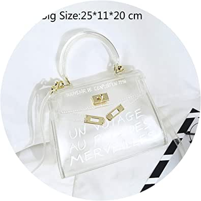 Women Transparent PVC Clear Jelly Bag Tote Handbag Shoulder Bag Purse