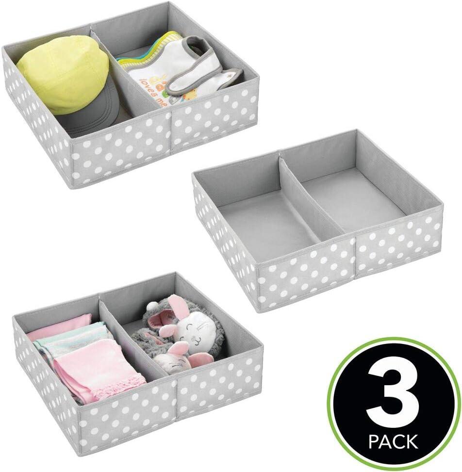 mDesign Aufbewahrungsboxen f/ür Kleidung Kinderzimmer Aufbewahrungsbox aus Stoff Babysachen usw Kinderschrank Organizer mit 2 F/ächern cremefarben//wei/ß