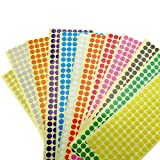 12 Sheets Assorted Color Removable Color Coding Labels Round Dot Stickers for Crafts Making Notes Marks Playing Games 2304 Dots In Total