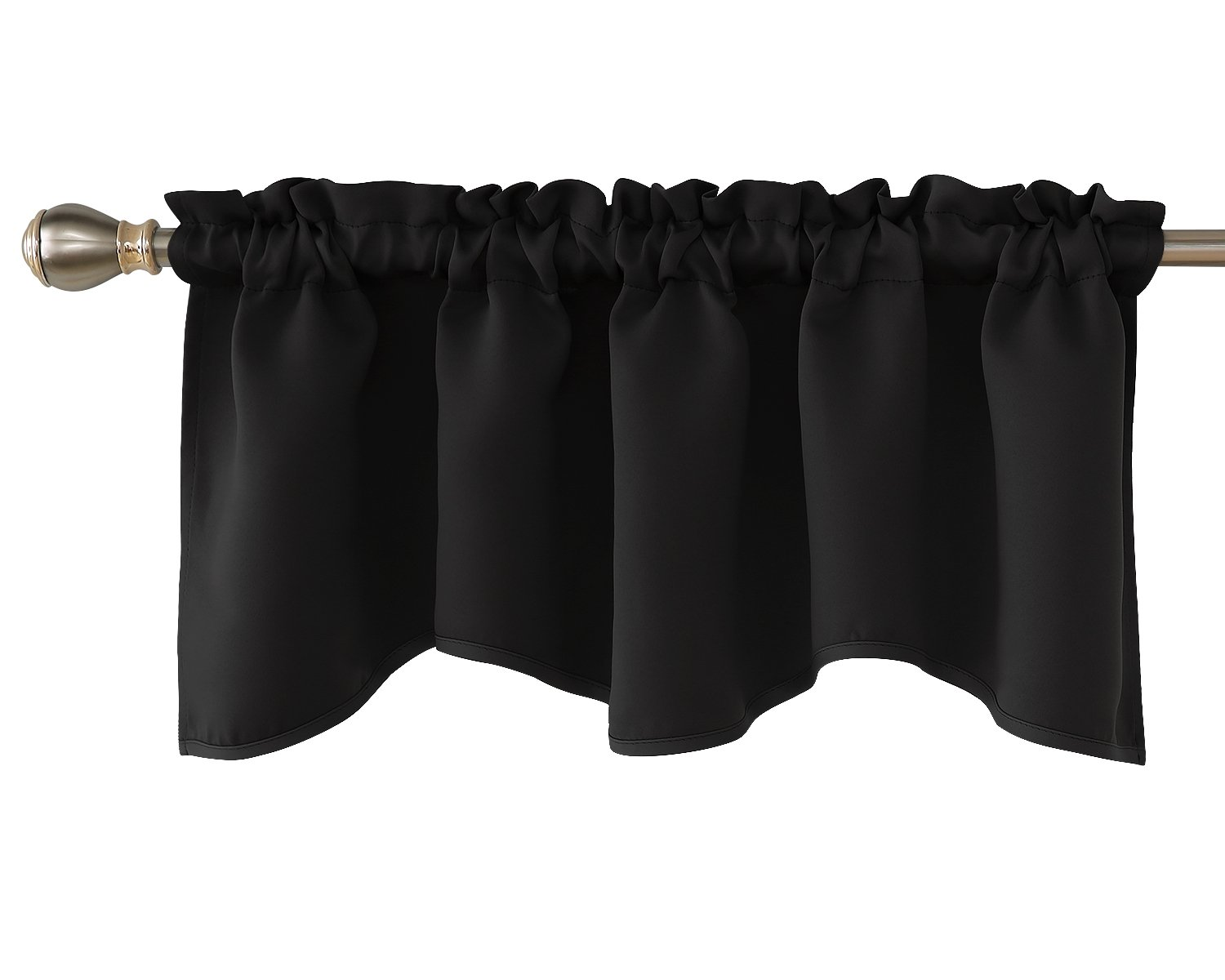Deconovo Blackout Window Valance for Kitchen Solid Rod Pocket Scalloped Valance Short Curtain Panels 42x18 Inch Black 1 Drape