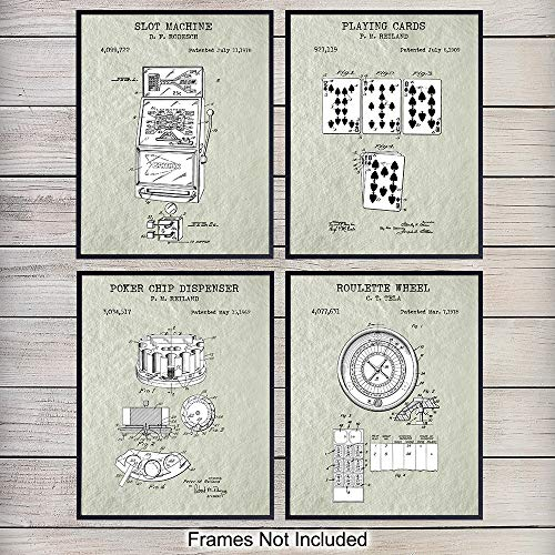 Las Vegas Gambling Patent Art Prints Vintage Wall Art Poster Set - Chic Rustic Home Decor for Game Room, Office, Man Cave - Gift for Poker, Roulette, Blackjack, Slot Machine Fans, 8x10 Photo Unframed