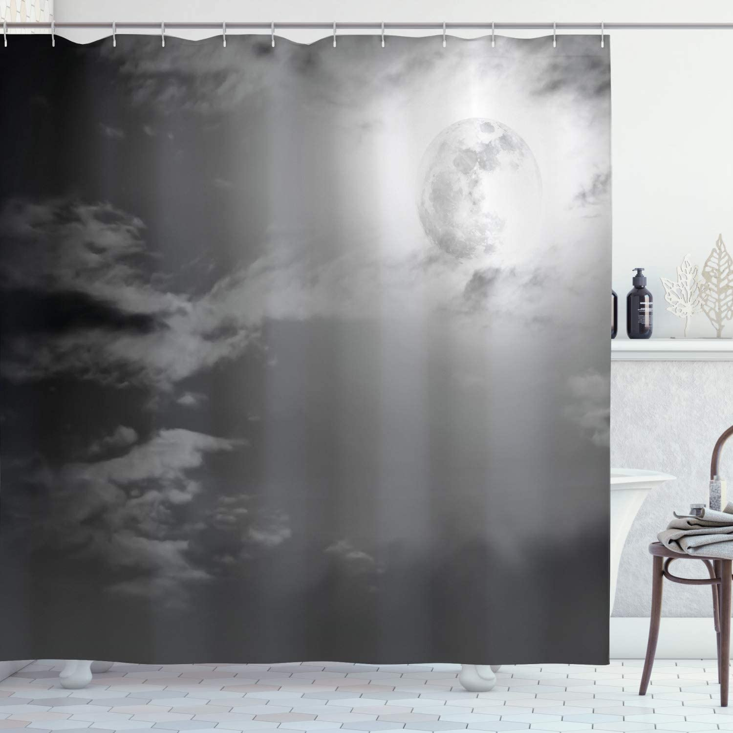 """Ambesonne Night Sky Shower Curtain, Full Moon and Clouds Midnight View Vintage Black and White Style Dramatic Scene, Cloth Fabric Bathroom Decor Set with Hooks, 70"""" Long, White Black"""