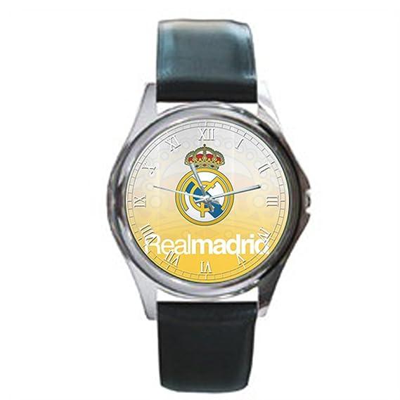 Fácil de leer de la g-store Hombres Real Madrid FC Reyes corona pantalla analógica esfera de color negro reloj de pulsera: Amazon.es: Relojes