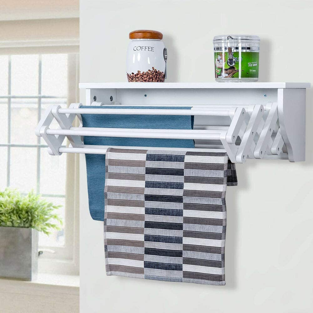 Amazon Com Wall Mounted Drying Rack Folding Clothes Towel Laundry Room Storage Shelf White Pine Wood Garden Outdoor