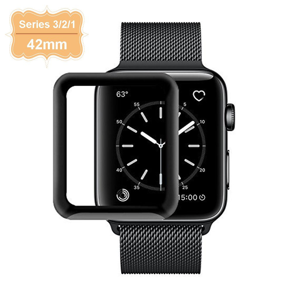 Apple Watch Screen Protector 42mm, Full Coverage Tempered Glass Iwatch Screen Protector Case with 3D Curved Edge for Apple Watch Series 3/2/1, High Definition, Bubble Free, Anti Scratch (1 Pack)