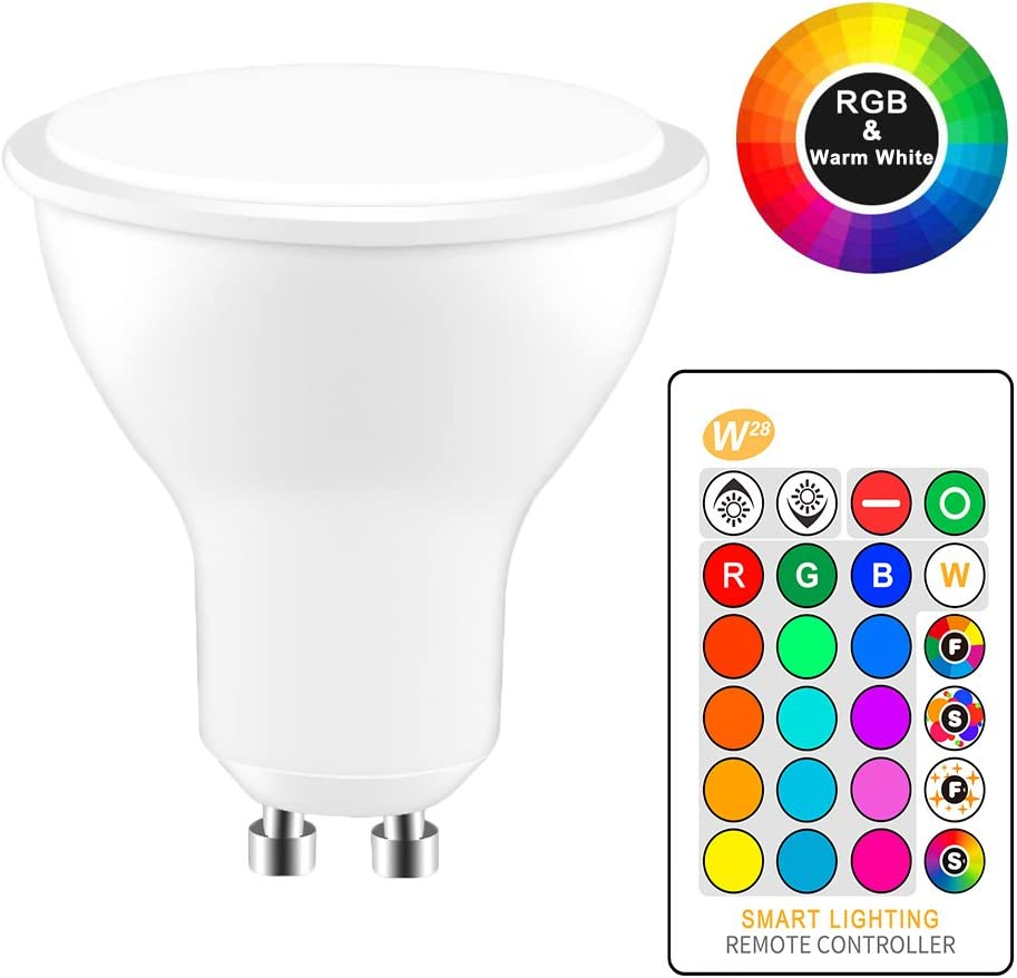 Flash Strobe Fade Mode for Home Decor RGBW Led Bulb GU10 Color Changing Light Bulb with Remote Control 2 Pack 8W RGBW Led Light Bulb with Time Function Party- Cool White Not Include Battery