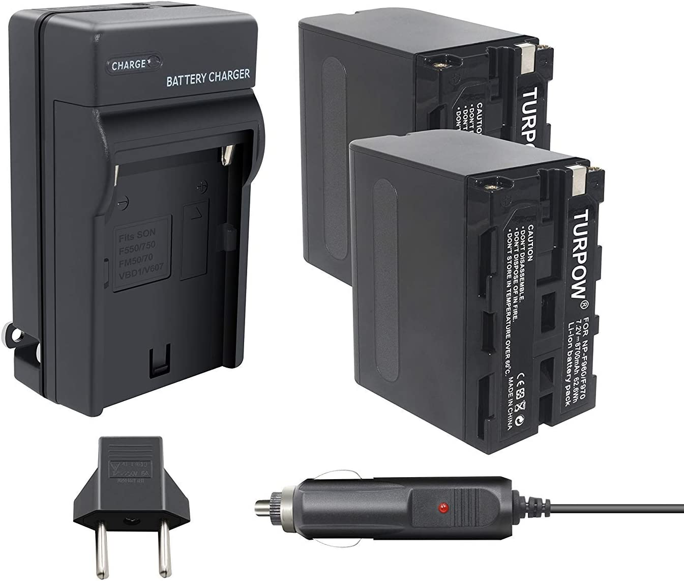 Tectra Dual USB Charger for Sony NP-F960 NP-F970 NP-F975 NP-F570 NP F750 NP-F770 and and DCR-VX2100 HDR-AX2000 FX1 FX7 FX1000 HVR-HD1000U V1U Z1P Z1U Z5U HXR-MC2000U FS100U FS700U and LED Video Light