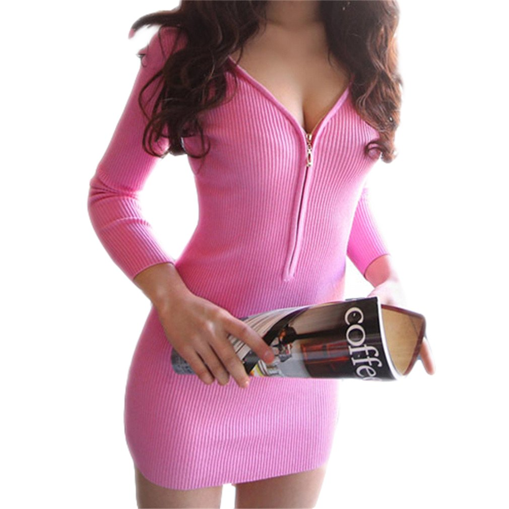 SHOR-DRESS Working Sexy V Neck Zipper Robe Business Pencil Mini Dress