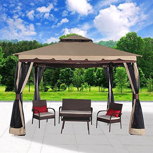 Cloud Mountain Garden Gazebo 130'' x 130'' Outdoor Gazebo with Mosquito Netting Metal Patio Gazebo Canopy Double Roof Vented BBQ Gazebo, Sand by Cloud Mountain (Image #2)